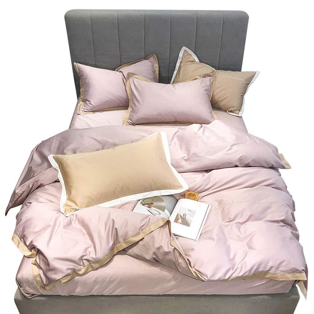 ベッドシーツセット、コットン60サポートロングステープルコットンソリッドカラー寝具 - しわ、4個セット (Color : Smoke pink, Size : 220*240CM) B07STHMHMF Smoke pink 220*240CM
