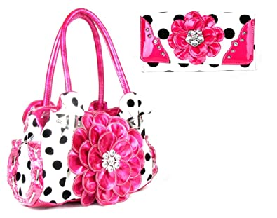 DH Sassy Polka Dot Rhinestone Flower Shoulder Bag Purse Wallet Set (Pink)   Handbags  Amazon.com