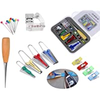 Bias Tape Maker Set - Fabric Bias Tape Maker Tool 4 Size for Sewing Quilting with Binding Foot Craft Clips Awl Ball Pins