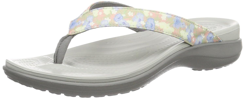 crocs Damen Caprivflip Pantoffeln Mehrfarbig (Floral/Light Grey_92j)