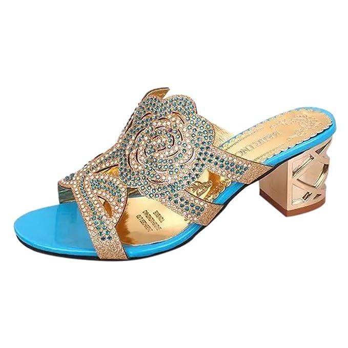 e7d53630c8 Sandalen Damen Sommer Sannysis Damenmode Casual Kristall Outdoor Hausschuhe  Platz Ferse Schuhe Blume Sandalen Party Sandaletten