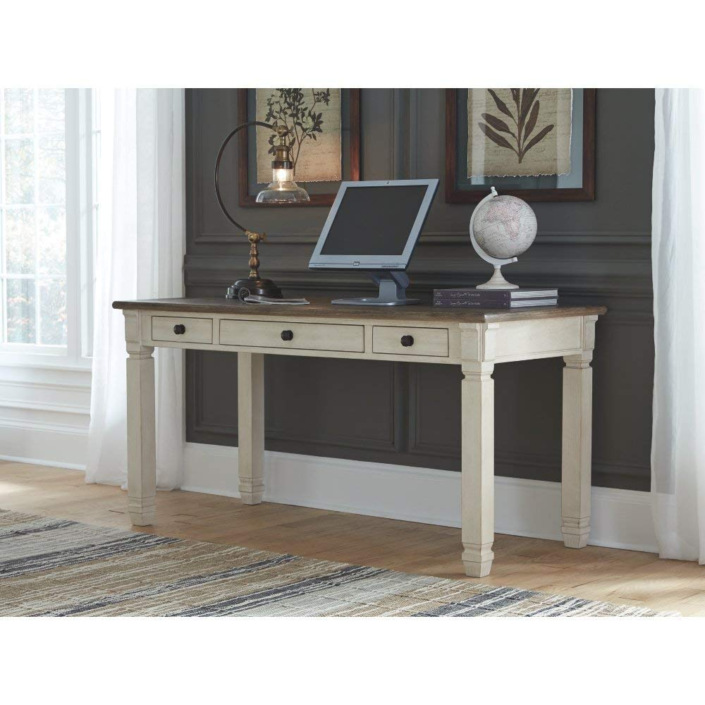 Ashley Furniture Signature Design – Bolanburg Home Office Desk – Casual – 3 Drawers – Weathered Oak Antique White Finish – Black Hardware