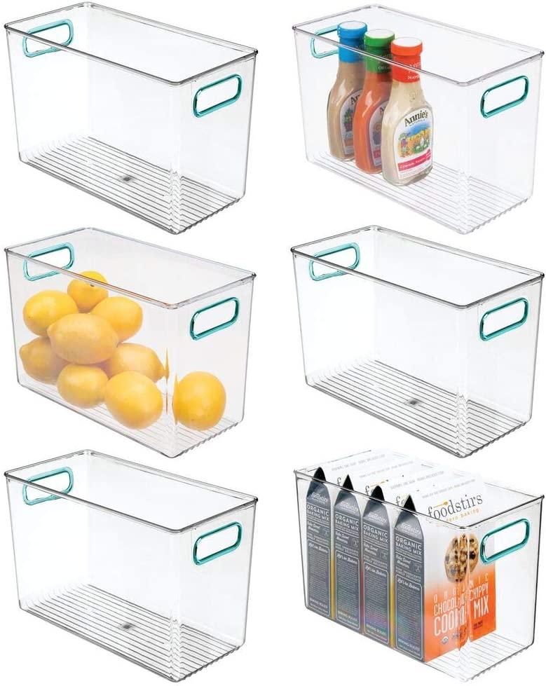 mDesign Plastic Food Storage Container Bin with Handles - for Kitchen, Pantry, Cabinet, Fridge/Freezer - Narrow Organizer for Snacks, Produce, Vegetables, Pasta - Food Safe - 6 Pack - Clear/Blue