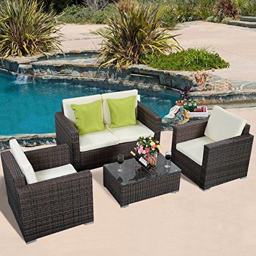 Tangkula 4pc patio wicker rattan sofa furniture set patio for Outdoor furniture qatar