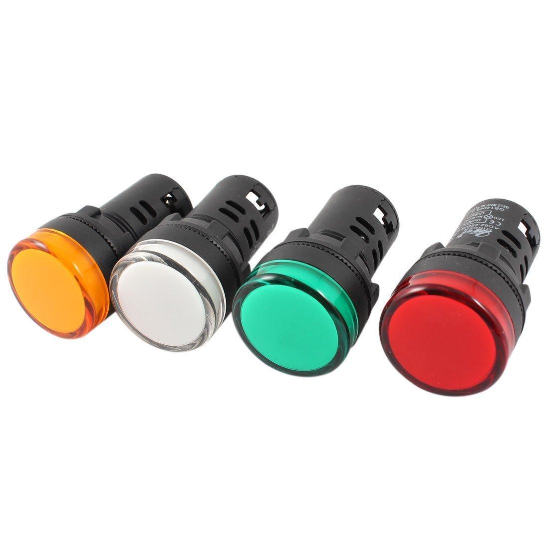 sourcingmap® 22 mm, confezione da 4 pezzi, 4 colori indicatore LED Pilot Lampada segnale AC/DC 24 V a14062300ux0088