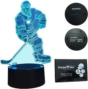 Innowill Eishockey Puck Schlittschuhe Helm Geschenk Nachtlicht Led Lampe 7colors Amazon De Beleuchtung