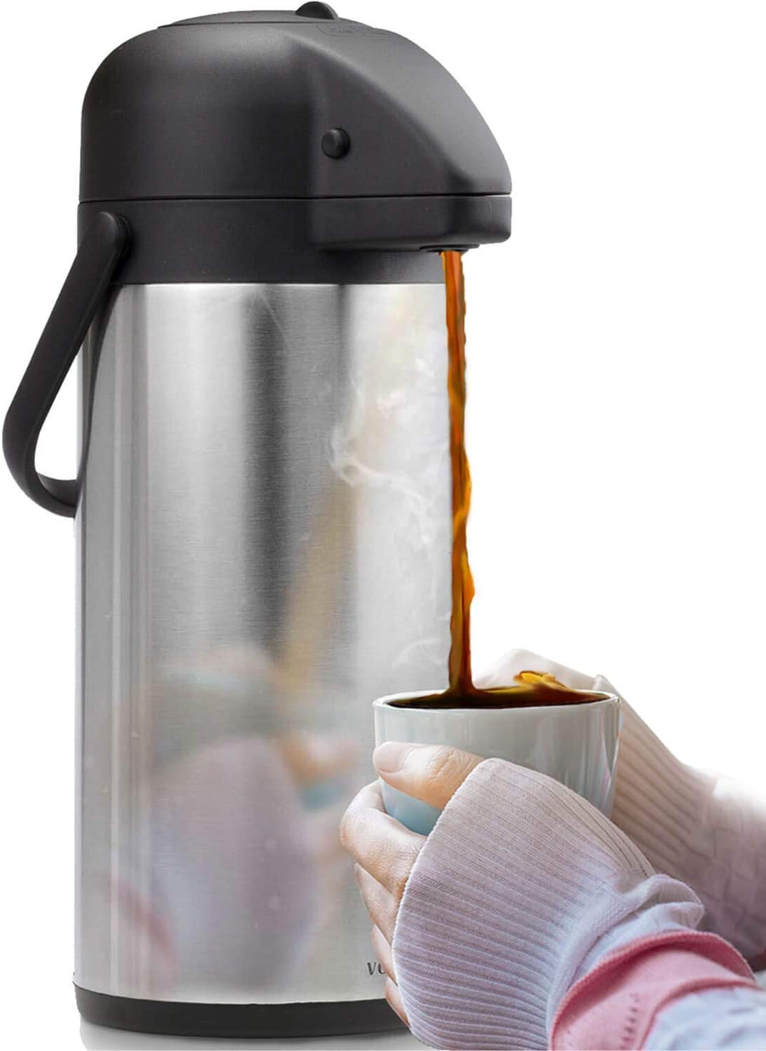 Airpot Coffee Carafe - Thermal Beverage Dispenser (102 oz.) By Vondior. Insulated Stainless Steel Coffee Thermos Urn For Hot/Cold Water, Pump Action Airpot, Party Chocolate Drink (Renewed)