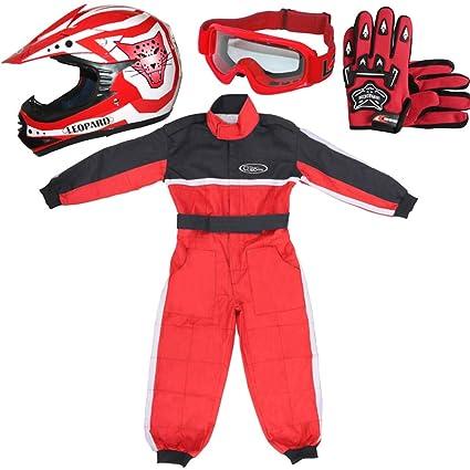 Leopard LEO-X17 Rojo Casco de Motocross para Niños (XL 55cm) + Gafas + Guantes (XL 8cm) + Traje de Motocross para Niños - L (9-10 Años)