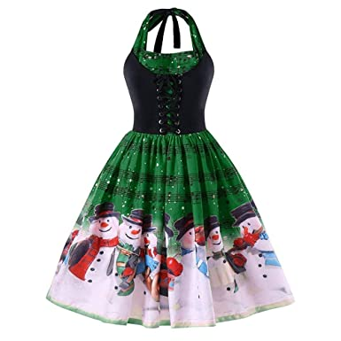 6d24d240a36 Women Vintage Prom Dresses Retro 50s Rockabilly Halter Audrey Hepburn  Christmas Snowman Printed Sleeveless Cocktail Swing Dress  Amazon.co.uk   Clothing