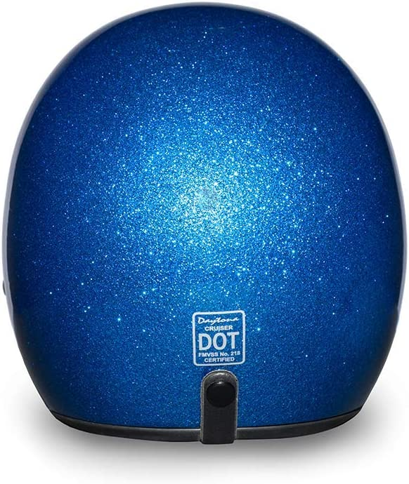 Blue Metal Flake 100/% DOT Approved Daytona Helmets Motorcycle Open Face Helmet Cruiser