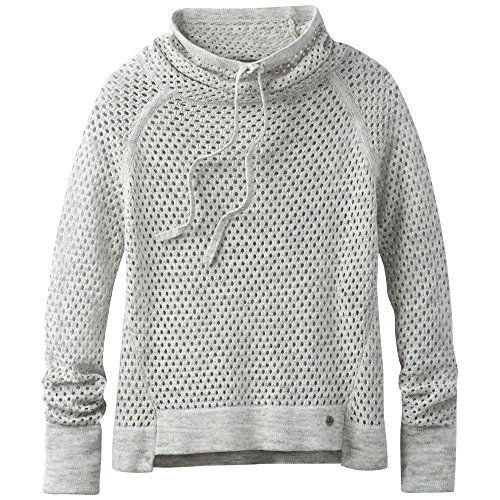 prAna Womens Translucent Sweater, Heather Grey, (Prana Warm Up Jacket)