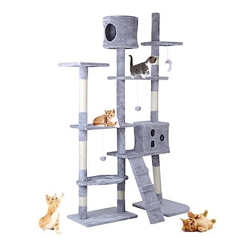 Centro de actividades para gatos, torre multinivel con rascador, cuerda y juguetes, de