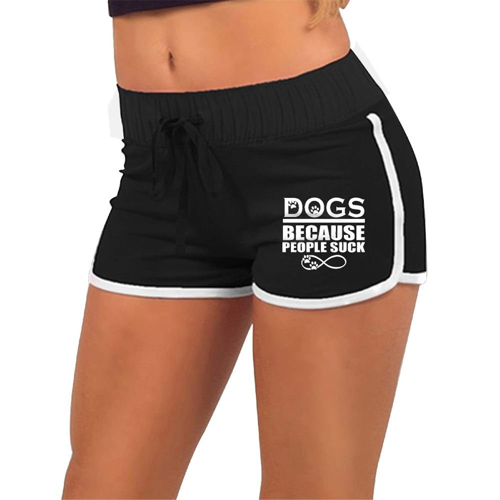 Dogs Because People Suck,Running Active Shorts Pants with,Athletic Elastic Waist Womens Sports Shorts