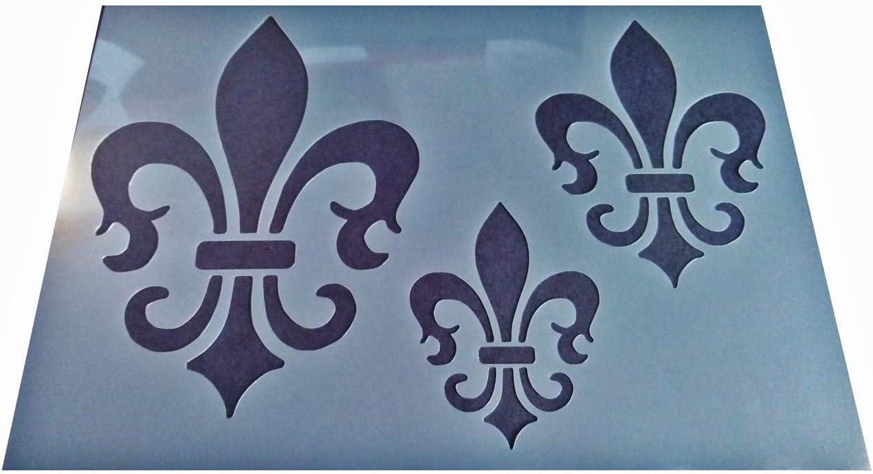 Design B 1x Vintage Shabby Chic Plastic 3 Sizes Fleur de lis LYS Crafting Stencil A4 297x210mm