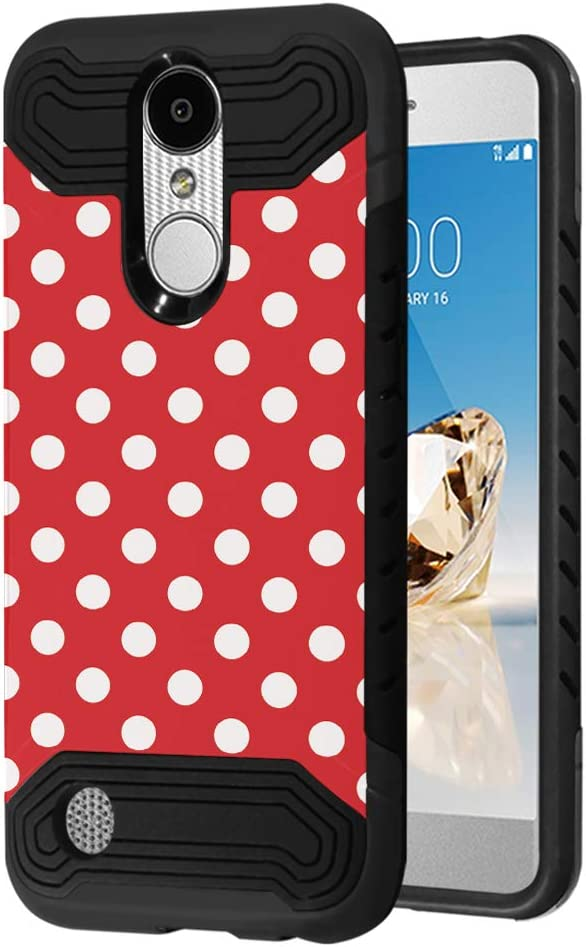 Quantum Case Compatible with LG Aristo 3, 3 Plus, Rebel 4 LTE [Moriko Premium Dual Layer Hybrid Shockproof Slim Armor Black Case Cover] for LG Aristo (Polka Dot)