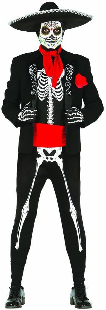 Amakando Traje Mexicano Sugar Skull Disfraz Esqueleto Día de los ...