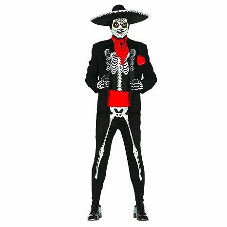 Amakando Completo Stile Messicano Sugar Skull Costume da Scheletro Giorno  dei Morti L 52 54 3218c1cacc3b
