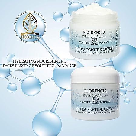 Florencia Ultra Peptide Cream with Hyaluronic Acid – Youthful Radiance Organic, Nourishing, Anti-Aging, Peptide Moisturizer Promotes Collagen Production, Reduction of Wrinkles, Lifting Effects 2 oz