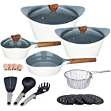 Ceramic Cookware Sets Dishwasher Safe Nonstick Aluminum Induction Kitchen Cookware Set with Cooking Utensil Pack- 19 - White