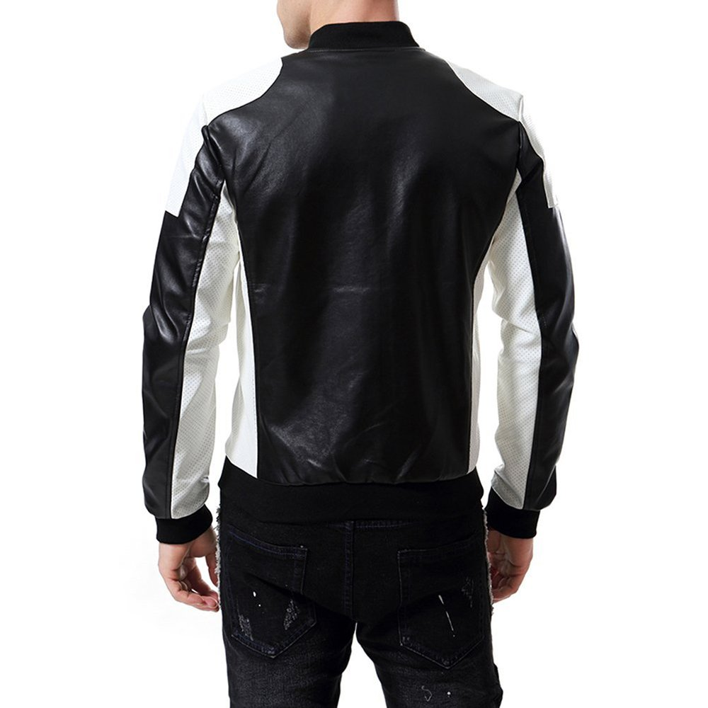 MAGE MALE Mens PU Faux Leather Jacket Slim Fit Black White Stand Collar Bomber Biker Coat Black at Amazon Mens Clothing store: