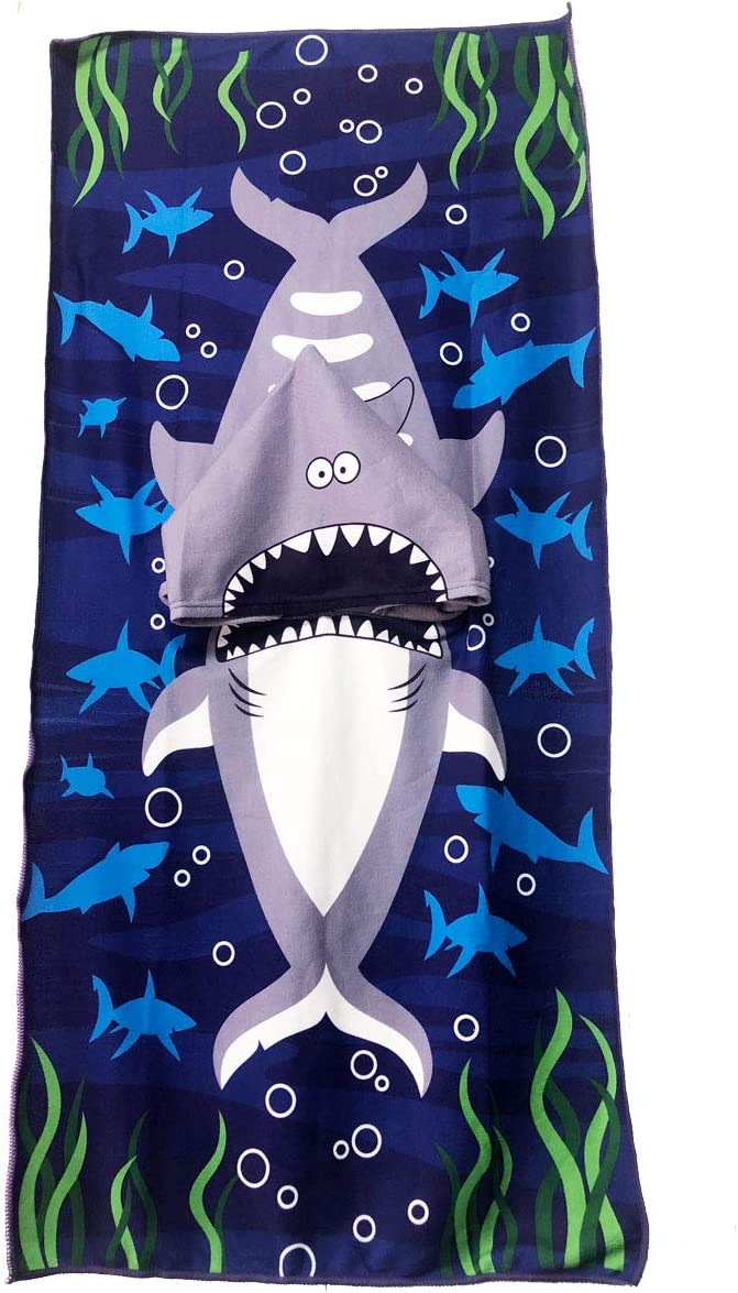COZUMO Toddler Hooded Beach Bath Towel Wrap – Baby Shark Soft Beach Towel Swim Pool Coverup Poncho Cape for Boys Kids Children Gift, 1-7 Years Old Bath Robe (Shark)
