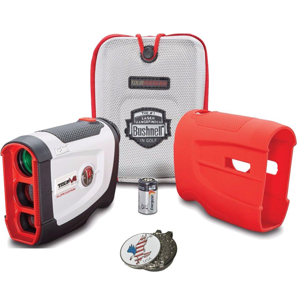 Bushnell 2017 New Tour V4 Shift Slope & Non Slope Edition Patriot Pack Golf Laser Rangefinder & 1 Custom Ball Marker Hat Clip set (Eagle US Flag)