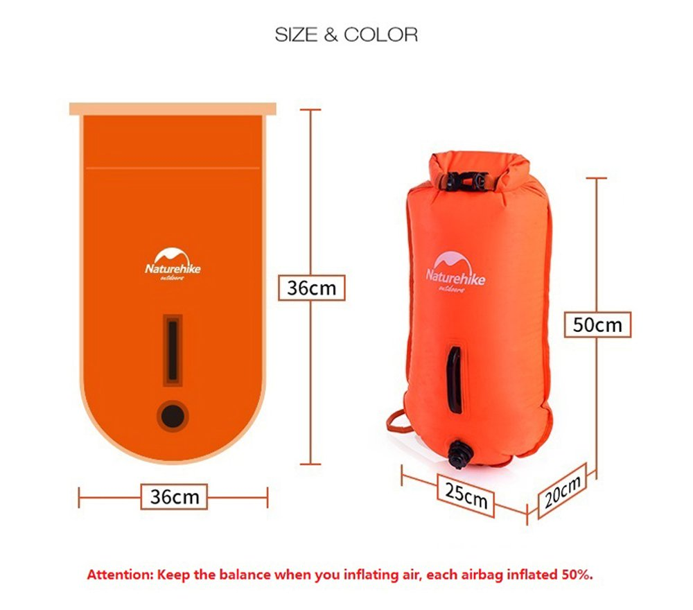 Orange Naturehike 28L Double-balloon Snorkelling Inflatable Bag Swimming Dry Bag Waterproof Beach Bag