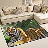 Tiger Pattern Print Playmat Floor Mat For Dining Room Living Room Bedroom, 7'x5' and 5'3''x4'