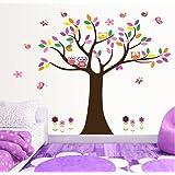 ufengke® Árbol Colorido y Búhos Preciosos Pegatinas de Pared, Vivero Habitación de los Niños Removible Etiquetas de la pared / Murales