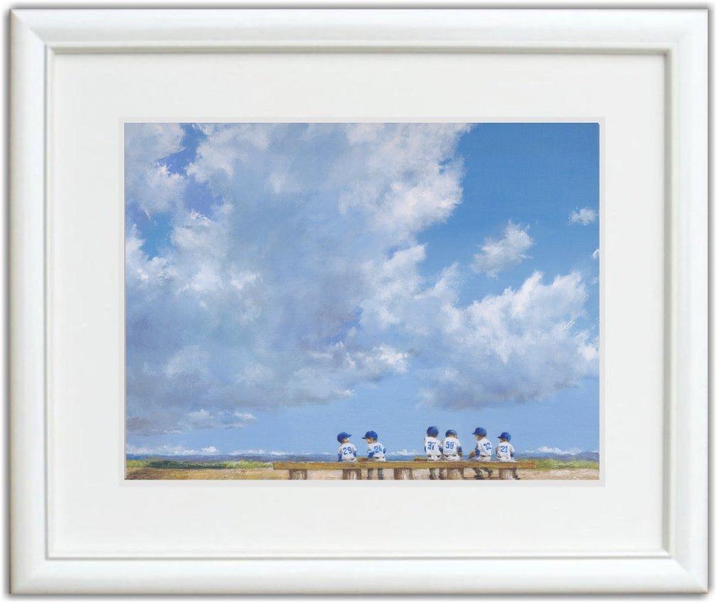 【ノーブランド品】 櫻井幸雄 出番のないベンチ 「雲の下の六人」 額付き複製画 B00UVHO8RS