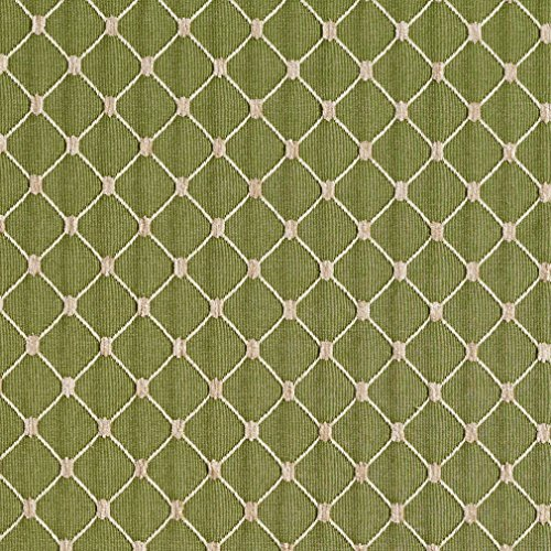 Diamond Chenille Upholstery - Fern Beige and Green Diamond Mesh Pattern Chenille Upholstery Fabric by the yard