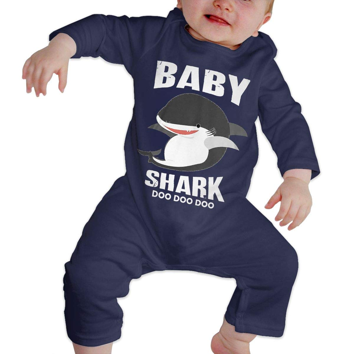 Baby Crew Neck Long-Sleeve Pure Color Romper Baby Shark Funny Matching Jumpsuits Sleepwear