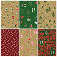 """Christmas Wrapping Paper Set – 6 Rolls Bundle of Wrap Paper Size 30"""" x 120"""" per Roll – Gift Joy Theme with 6 Special Designs"""