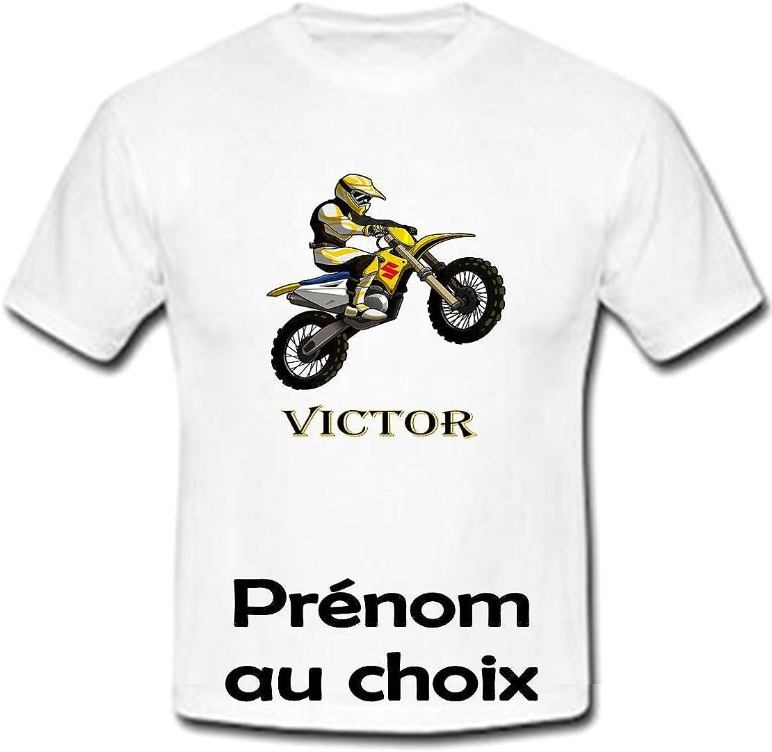 GRAVOPHOTO Tshirt personnalis/é Moto Cross Suzuki pr/énom et Taille au Choix