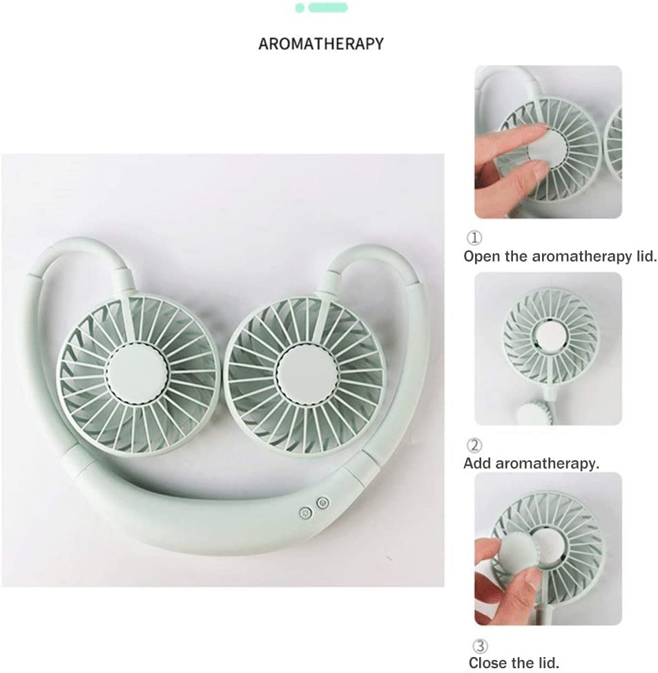 Kitchen Generic002 Hands-Free Fan Hanging Neck Fan 3-Speed Adjustable 360-degree Universal Rotating Silent Portable Fan Suitable for Office Etc. Indoor Color : Green