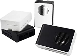 Yahboom Raspberry Pi 4B Color Mixing Custom Case with Large LED Cooling Fan (2 PCS Black & White) (3 Colors Optional)