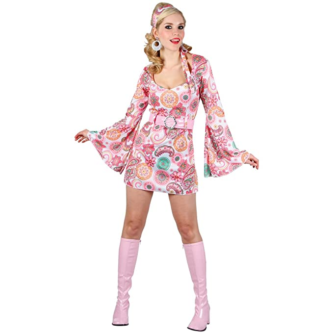 RETRO GO GO GIRL BABY PINK LADIES COSTUME FANCY DRESS UP PARTY ...