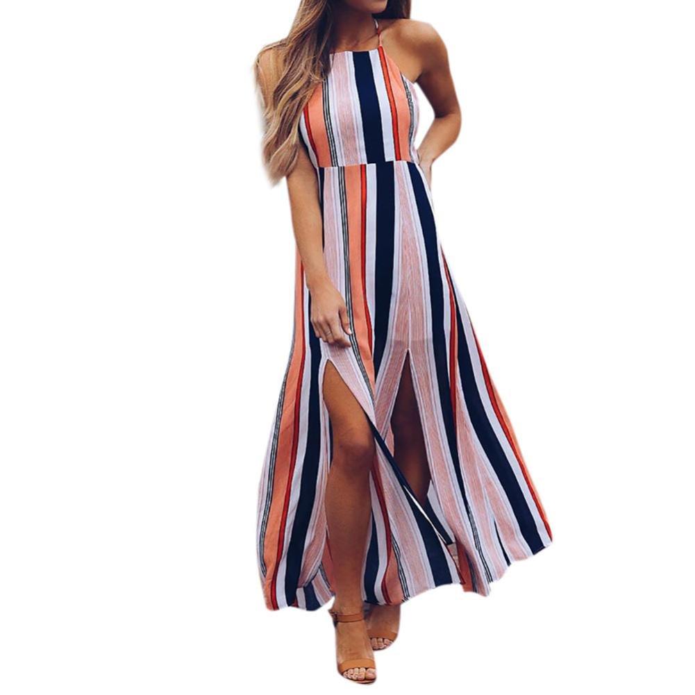56cc1f11b7c62 Amazon.com  Manxivoo Halter Sleeveless Striped Split Maxl Long Dress Beach  Swing Evening Party Dress  Sports   Outdoors