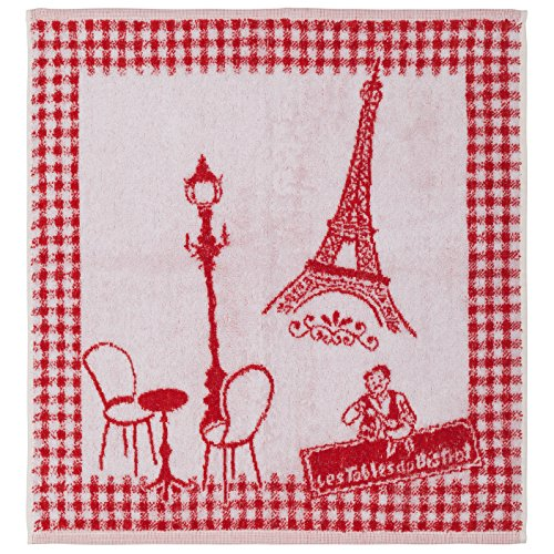 COUCKE French Cotton Terry Cloth Reversible Kitchen Dish Towel Paris Collection, Bistro, 20-Inches 20-Inches, Red -