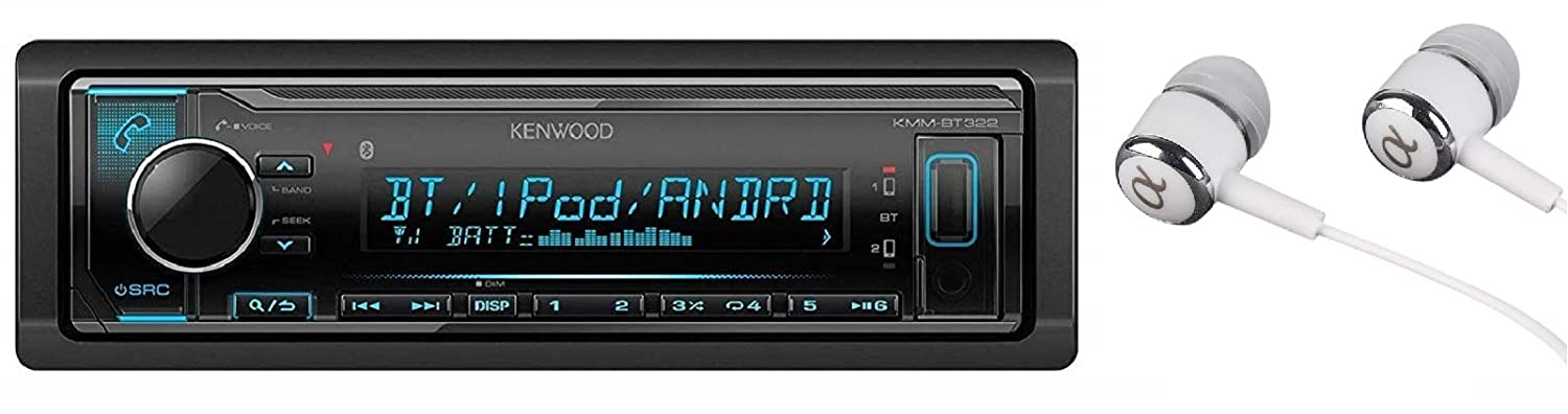 Kenwood KMM-BT322 Bluetooth USB MP3 WMA AM/FM Digital Media Player Dual Phone Connection Pandora Car Stereo Receiver/Free ALPHASONIK Earbuds