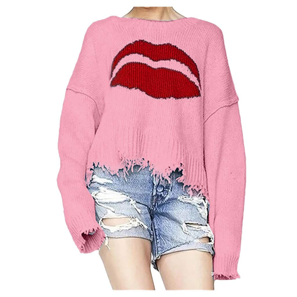 SPORTTIN Women's Red Lips Print Crop Top Knitted Sweater Long Sleeve Oversized Crew Neck Pullover(Red,Large) by SPORTTIN