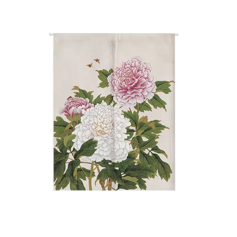 ONCEFIRST Linen Tapestry Doorway Curtain Noren Japanese Curtain for Door Peony 25.5''X35.4''