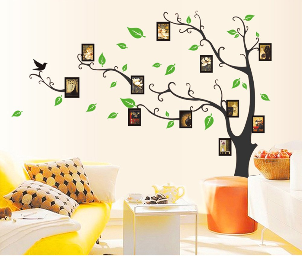 Buy UberLyfe Large Photo Picture Frame Tree Vine Branch Wall Sticker Size 4    Left Facing (Wall Covering Area: 107cm X 97cm)   WS 86 BK Online At Low  Prices ... Part 51
