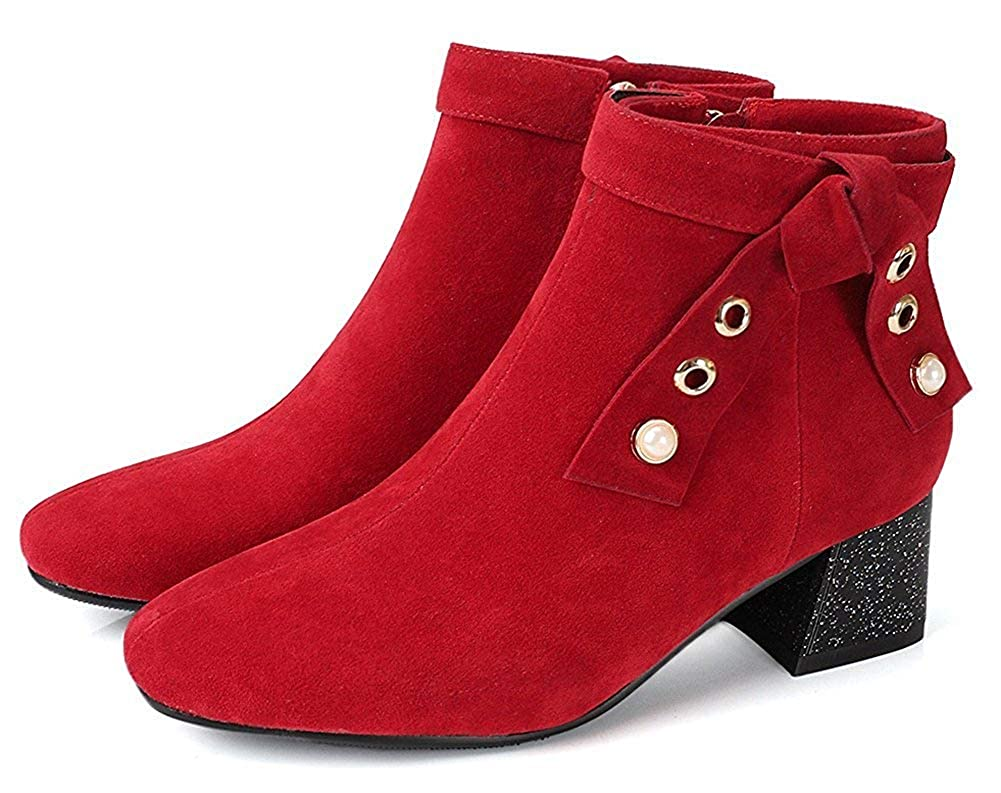 Chunky Mid Heel Booties Unm Womens Square Toe Ankle Boots with Zipper Comfort Bow Beaded