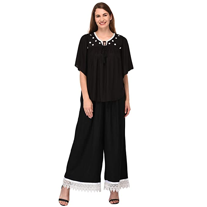 9edd6954dedc8f Patrorna Blended Women s Butterfly Sleeve Crop Top and Palazzo Pant Suits  Set In Black (Size