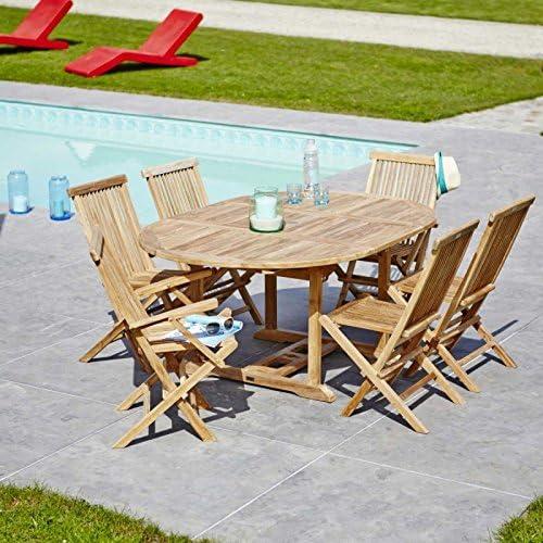 Salon de jardin en TECK BRUT QUALITE GRADE A 6/8 pers ...