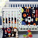 Baby Bedding for Boys Space Adventure Bedding Set for Crib/Nursery 100% Cotton Blue Fitted Crib Sheet + Crib Skirt + Comforter 3 pieces Baby Bedding Set - Brandream