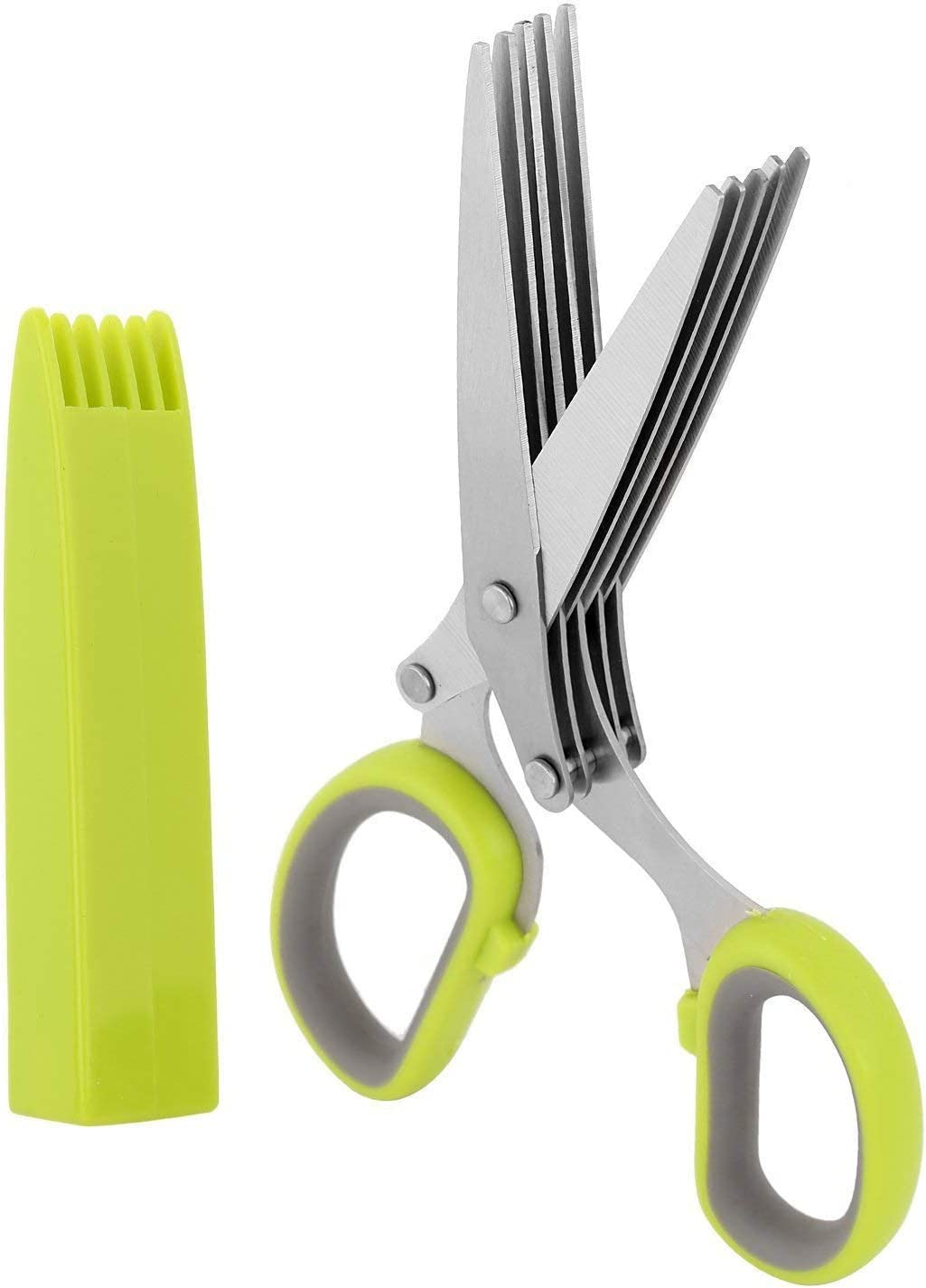 Emoly Herb Scissors, Multipurpose 5 Blade Kitchen Cutting Shear with Safety Cover and Cleaning Comb