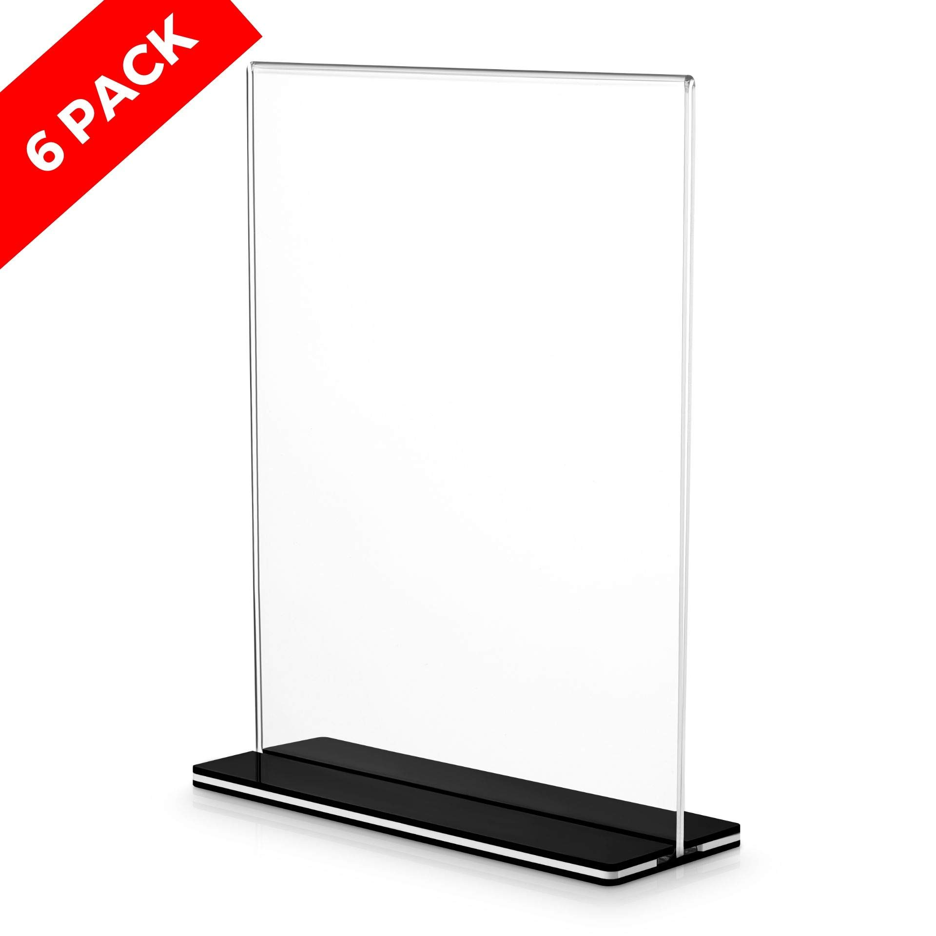 Goodyz-N-Goodz LLC Acrylic Sign Holder with Stand - Self-Standing Double-Sided T-Shape Display - Crystal Clear, Easy to Use - Great for Photos, Menus, Posters, Advertising - 8.5x11-Inch Stand - 6-Pack  Price: $30.95 RATING: