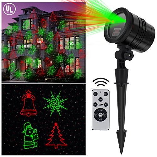 Christmas Outdoor Laser Light - Aluminum Alloy with RF Wireless Controller, IP 65 Waterproof, Red and Green Stars lights Show for Xmas, Birthday, Halloween, Parties, Landscape or Garden Decoration
